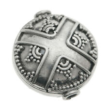 Bali Sterling Silver Round Cross Flower Focal Bead 15mm