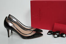 New sz 8 / 38.5 Valentino Garavani Glassglow Black Patent Leather Bow Pump Shoes
