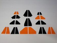 Lego BLACK & ORANGE WINGS Plates 26 Piece Bulk Lot #5 Star Wars, Space, Airplane