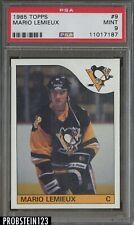 1985 Topps Hockey #9 Mario Lemieux Pittsburgh Penguins RC Rookie HOF PSA 9 M INT