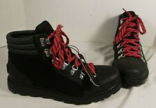 NEW SOREL WOMEN'S BLACK LEATHER AINSLEY CONQUEST LACE UP HIKING BOOTS US 8.5