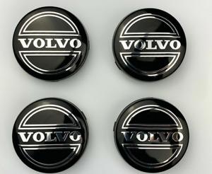 4pcs 64mm Volvo Black Wheel Center Caps Hub Rim Caps Badges Emblems Decals Logo