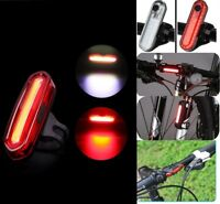 LED USB Rechargeable Bicycle Bike Warning Lamp Front Tail Rear Light Waterproof