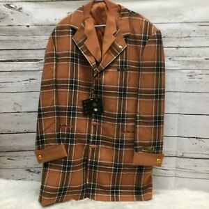 Falcone Men's Single-Breasted Orange Plaid Suit Jacket