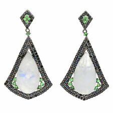 """Meher's Jewelry 1.75"""" Moonstone, Black Spinel & Tsavorite Drop Earrings $287"""