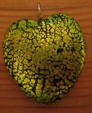 Handmade polymer clay heart pendant, metallic green cracked foil pattern