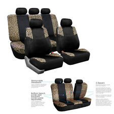 CAR SEAT HEAD REST COVERS CUSHION BLACK LEOPARD PRINT DESIGN SOFT LUSH VRLOUR