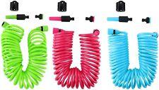 Kinzo 10M Expandable Coil Hosepipe Flexible Garden Hose Set With Spray Nozzle