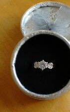 SOLITAIRE  ENGAGEMENT RING WITH HEARTS. WHITE GOLD FILLED.  SIZE. L.