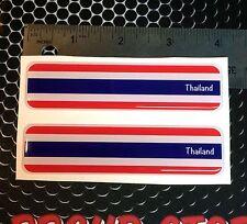 "Thailand Flag Proud Domed Decal Emblem Car Flexible 3D 4""x1"" Set of 2 Sticker"