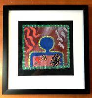Susan Starr Studio Abstract Artist Textiles Framed Wall Art Signed # 3/100 Blue