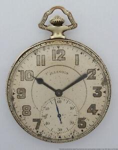 Antique Illinois Autocrat Art Deco 12s 17J Mens Open Face Pocket Watch