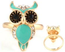 Men Women's Gold-plated art Green owl Rings Jewelry Rhinestone Opening Ring