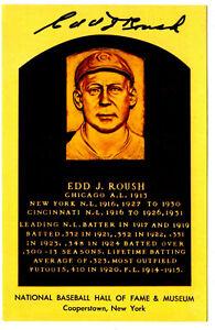 EDD J. ROUSH autographed HOF Plaque post card Cincinnati / New York NL