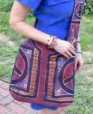 Retro Hippie Crossbody Zipper Shoulder Bag Peace Sign Handmade Nepal Pick Color