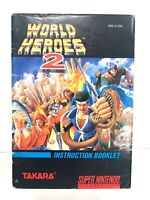 World Heroes 2 SNES Super Nintendo Instruction Manual Booklet Book ONLY