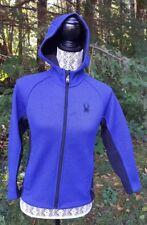 Spyder Core Knit Sweater Hooded Full Zip Fleece Lined Jacket Blue Black M