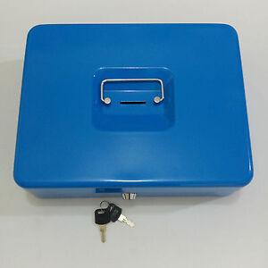 Steel Body Cash Box With Hole, 2 Keys & Tray