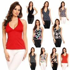 Womens Casual Cotton Fitted Halter Neck Plain Floral Animal Wrap Top UK 8 - 22