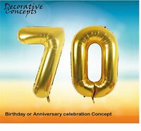 "Giant 70th Birthday Party 40"" Foil Balloon Helium Air Decoration Age 70 GOLD"