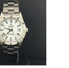 Rolex Date 34mm Stainless Steel Vintage White Roman Dial Automatic Ref. 15210