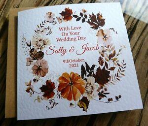 Handmade Personalised Wedding Day Card   Autumn /Winter Pumpkin