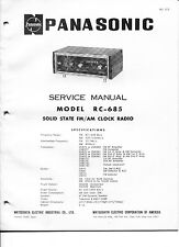 Vintage Panasonic SERVICE MANUAL- Model RC-685 Solid State FM-AM Clock Radio