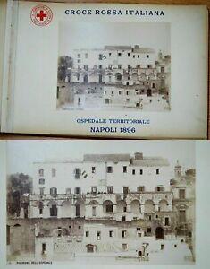 1896 Antique Italy Naples Napoli Military Hospital Red Cross 30 Cab.Photos Album