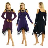 Womens Ladies Vintage Gothic Dress Off Shoulder Midi Dress High-Low Lace Dresses