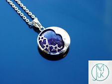 Amethyst Moon Natural Gemstone Pendant Necklace 50cm Healing Stone Chakra