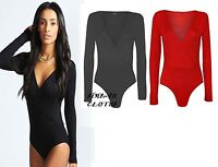 Womens Wrap Bodysuit Leotard Top Long Sleeve Wrap Cross Over Dep Plunge V Neck 8