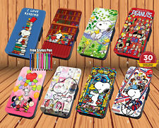 Snoopy Peanuts for Leather Flip Case Cover for iPhone And Samsung Wallet
