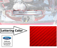 Radiator Cover Trim Plate SUPERCHARGED Red Carbon Fiber for 2015-2017 Mustang GT