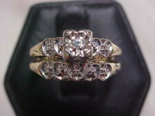 *ANTIQUE*DECO*1920'S NATURAL DIAMOND WEDDING SET 2-RING 14K YELLOW WHITE GOLD