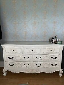 French Shabby Chic Chest Of Drawers Dressing Table Wood White