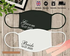 Custom Bride and Groom Wedding Mask for Couple and Other Guest Gift Mask.