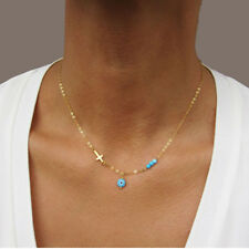 Chic Blue Beads Evil Eye Necklace for Women Fashion Cross Choker Necklaces