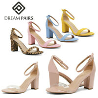 DREAM PAIRS Women's Ankle Strap Chunky Heel Sandals Open Toe Pump Dress Shoes