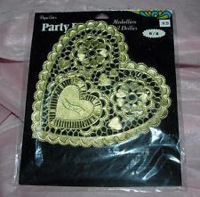 1 Vtg Pkg Paper Lace Doilies W 8 pcs Embossed Gold Valentine Shaped, Crafts