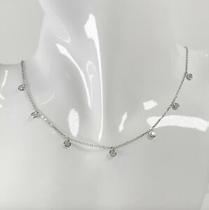1 Ct Choker Dripping 7 Station Necklace Natural Diamond By The Yard 14k Gold W Y