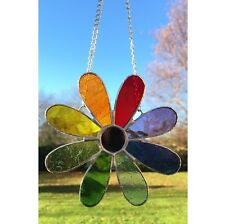 Handmade Stained Glass Flower Suncatcher Tiffany Glass Multi Coloured, Gift