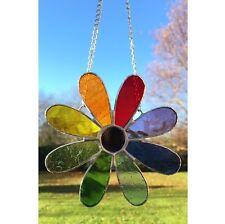 Handmade Stained Glass Flower Suncatcher Tiffany Glass Multi Coloured, Gift