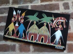 African Folk Art Batik Painting Ngoma