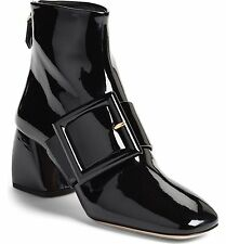 $990 Miu Miu- PRADA Black Black Patent Leather Buckle Ankle Boots Booties 38.5