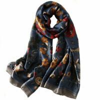 Sciarpa 180 X 90 cm 100% pura seta motivo floreale blu - scialle sciarpa in seta