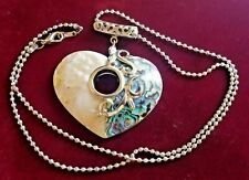 Handmade Stamped 18KGP MOP Abalone Shell Heart Pendant Necklace