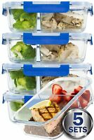 2 Compartment Glass Meal Prep Containers Glass Food Containers BPA-Free