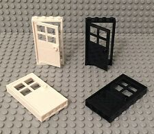 Lego X4 New White / Black Door With 1x4x6 Frame / City Home Building Parts Lot