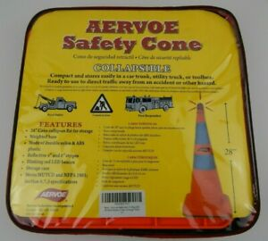 """Qty. 3 Aervoe Orange Emergency Traffic Reflective Collapsible Safety Cones 28"""""""