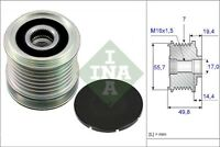 INA Over Running Alternator Clutch Pulley 535 0165 10 535016510 - 5 YR WARRANTY